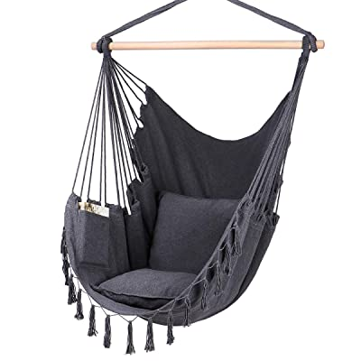 Y- STOP Hammock Chair Hanging Rope Swing-Max 330 Lbs-2 Cushions Included-Large Macrame Hanging Chair