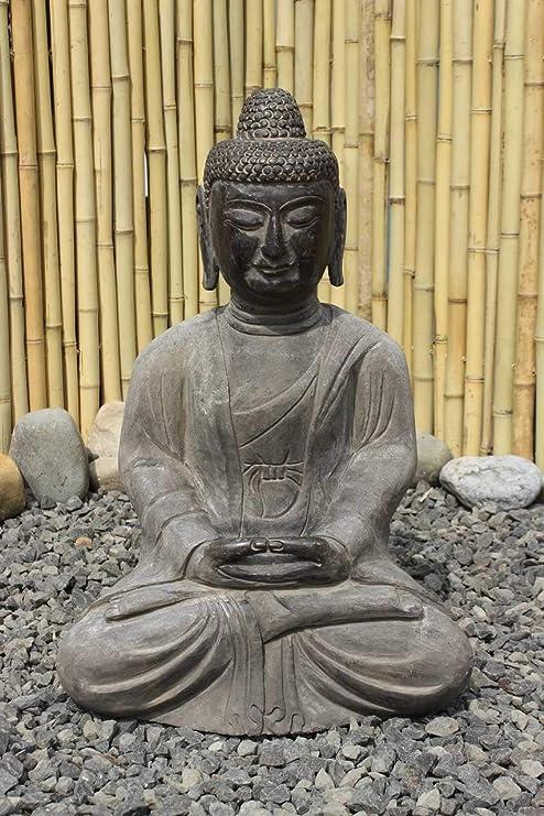 Asien Lifestyle Jardín Buda Estatua Amitabha 50cm Piedra Natural Budismo Figura: Amazon.es: Hogar