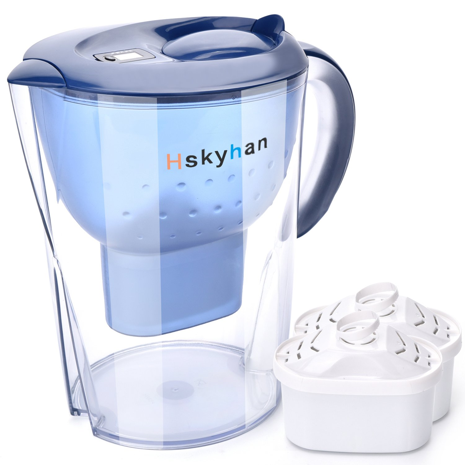 Hskyhan Alkaline Water Pitcher - 3.5 Liters Improve PH, 2 Filters Included, 7 Stage Filteration System To Purify, Blue HH003