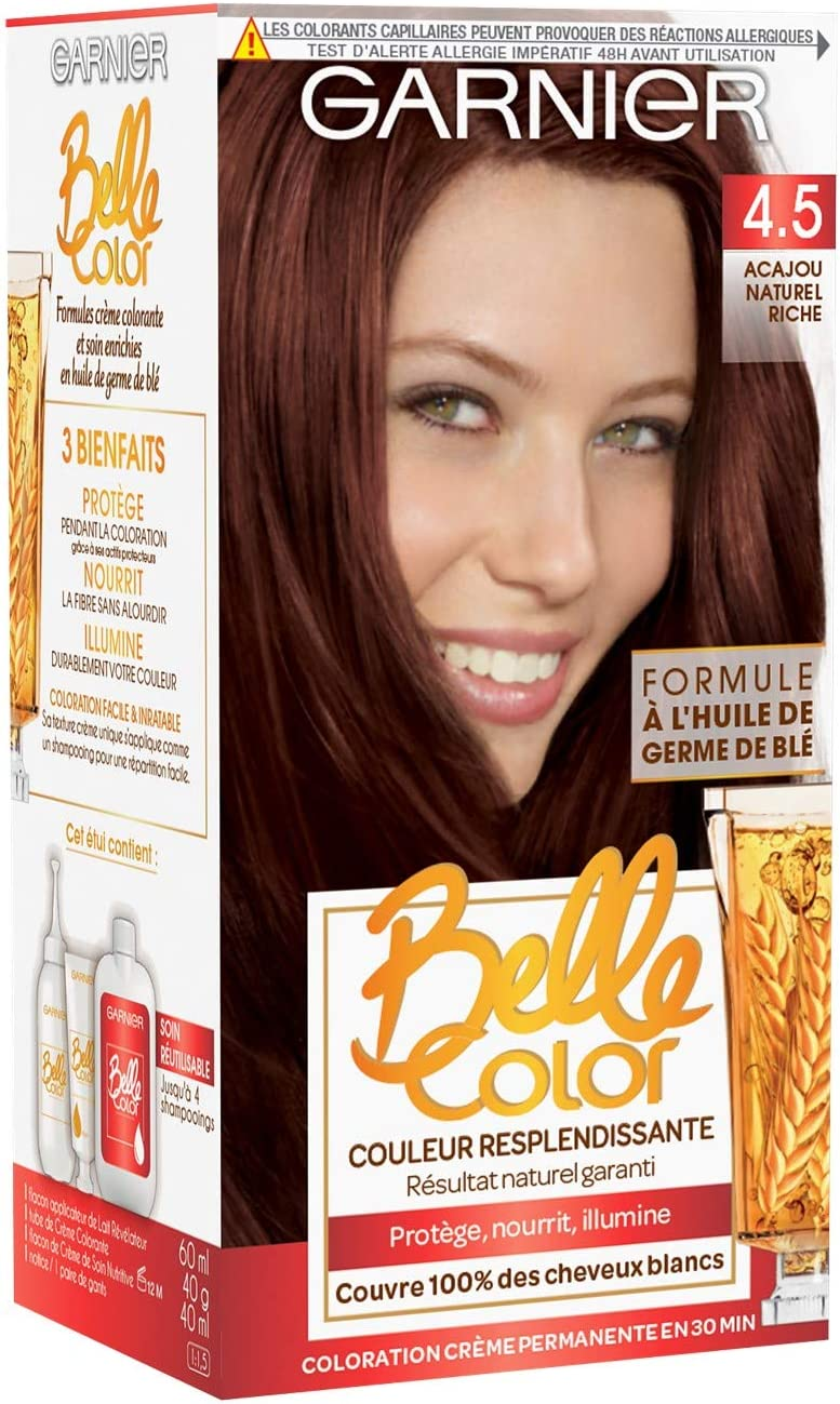 Garnier - Belle Color - Coloration permanente Cuivré - 4.5 Acajou naturel riche naturel