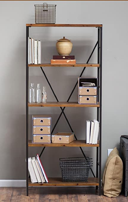 Rustic Wood Bookcase With Adjustable Shelves Featuring An Industrial Factory Look