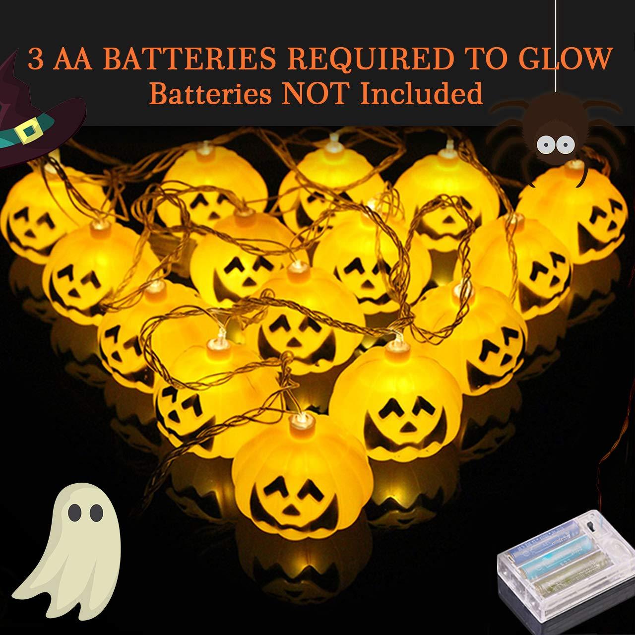 Pumpkin Lights Halloween Thanksgiving Decor Light,Halloween Thanksgiving Decorations Outdoor// Indoor 6.5 FT 20 LED Battery Powered Pumpkin String Lights Jack-O-Lantern for Party,Patio.Trick or Treat