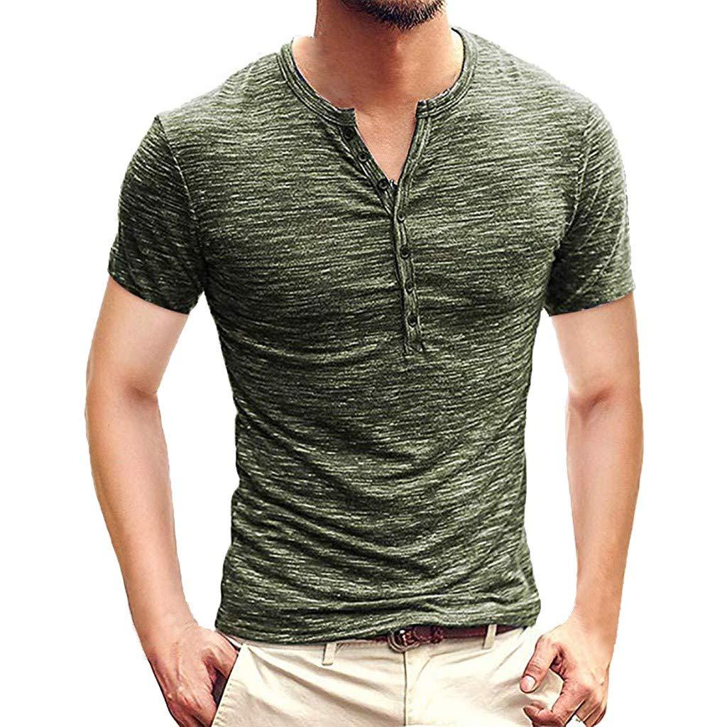 Winsummer Mens Casual Slim Fit Basic Henley Short Sleeve T-Shirt Lightweight V Neck Muscle Tops Army Green