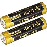 Holyfire 2X 18650 3400mAh Li-Ion Akku mit PCB Schutzschaltung für LED Taschenlampen Nicht für E-Zig(2X 18650)