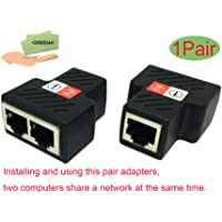 CERRXIAN RJ45 Female to 2 Female Splitter Coupler LAN Ethernet Network 1 to 2 Adapter (2-Pack)