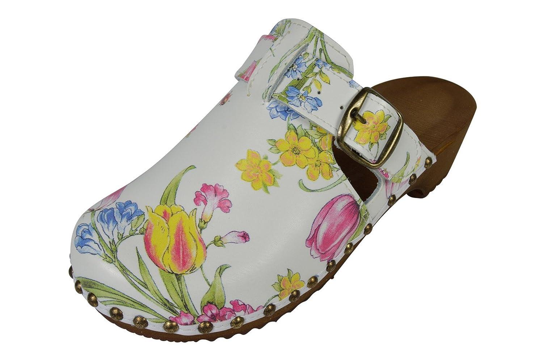 Buxa Zuecos de Ante para Mujer, Especial Hebilla Estilo 36 EU|Flores