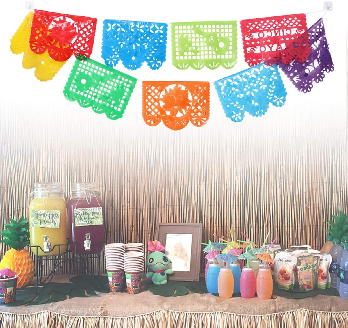 Amosfun Day of The Dead Backdrop Plastic Square Papel Picado Bunting Garland Hanging Pull Flag for Mexican Fiesta Party Supplies