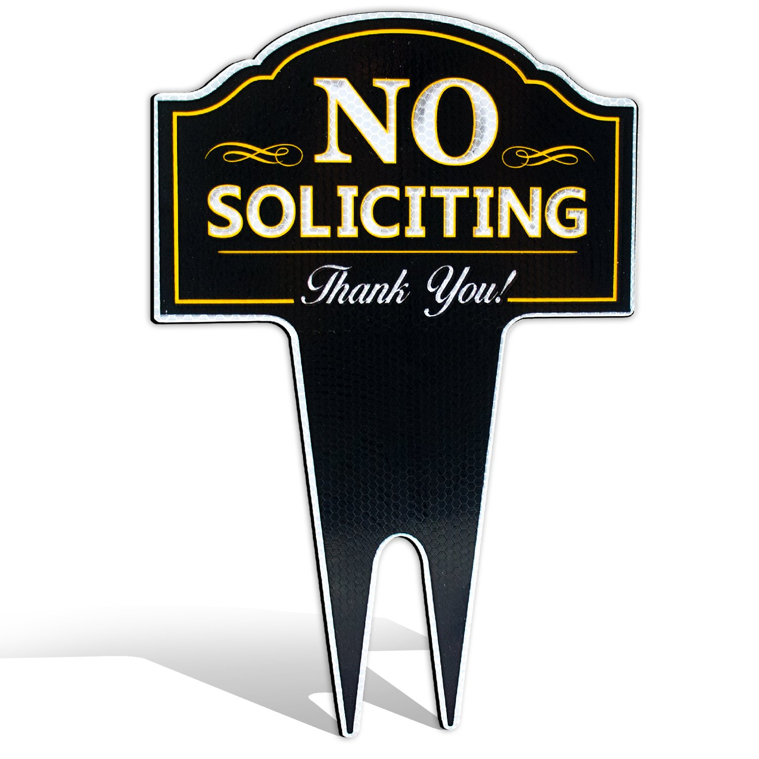 No Soliciting Outdoor Metal Yard Sign for Home, House and Business | Stylish Laser Cut | Made with Heavy Duty DiBond Aluminum (Reflective)