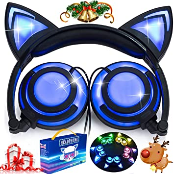 Kids Headphones with LED Light USB Rechargable 85dB Volume Limited Adjustable Headband 3.5mm Jack Over