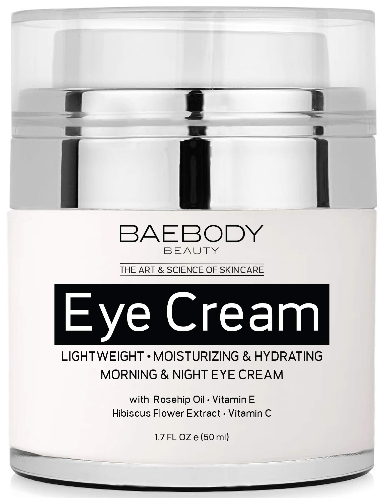 Baebody Eye Cream Rosehip Hibiscus for Appearance of Fine Lines, Wrinkles, Dark Circles, and Bags - for Under and Around Eyes - 1.7 fl oz by Baebody