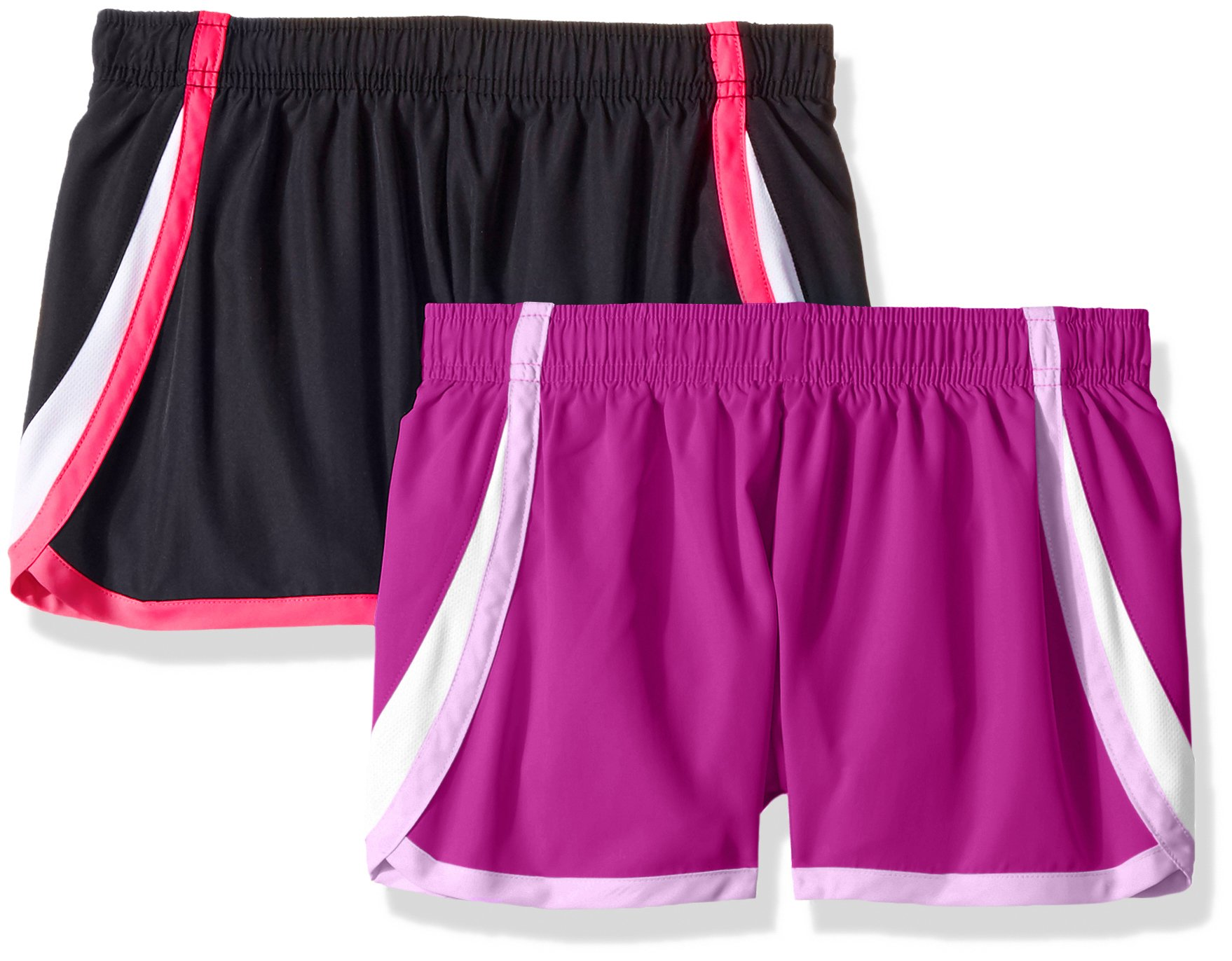 Hanes Girls' Big Sport Woven Performance Running Short (Pack of 2), Purple Cactus Flower/Black, M