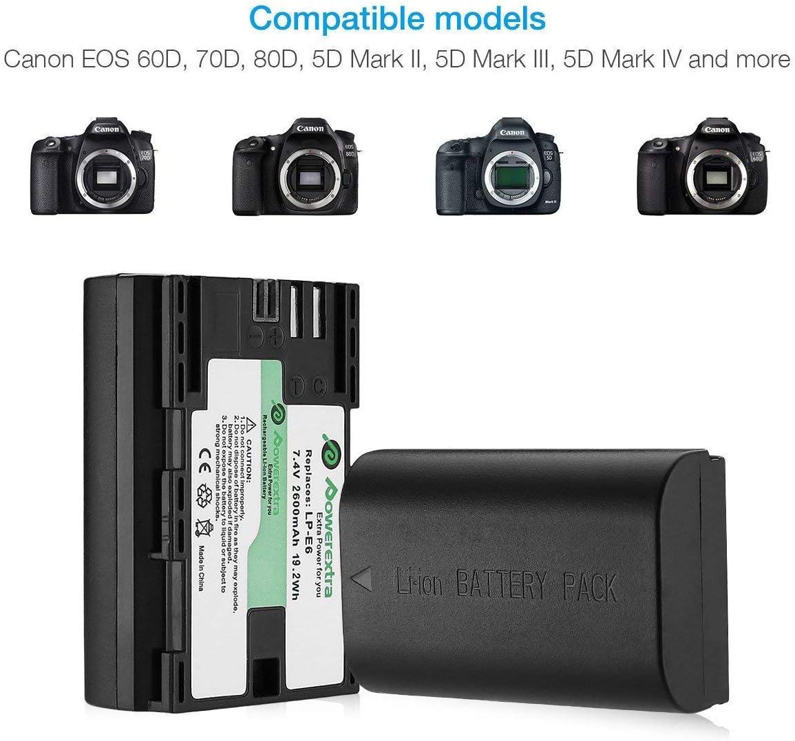 Powerextra 2 Baterías Canon LP-E6 LP-E6N Batería Canon EOS 80D 6D ...