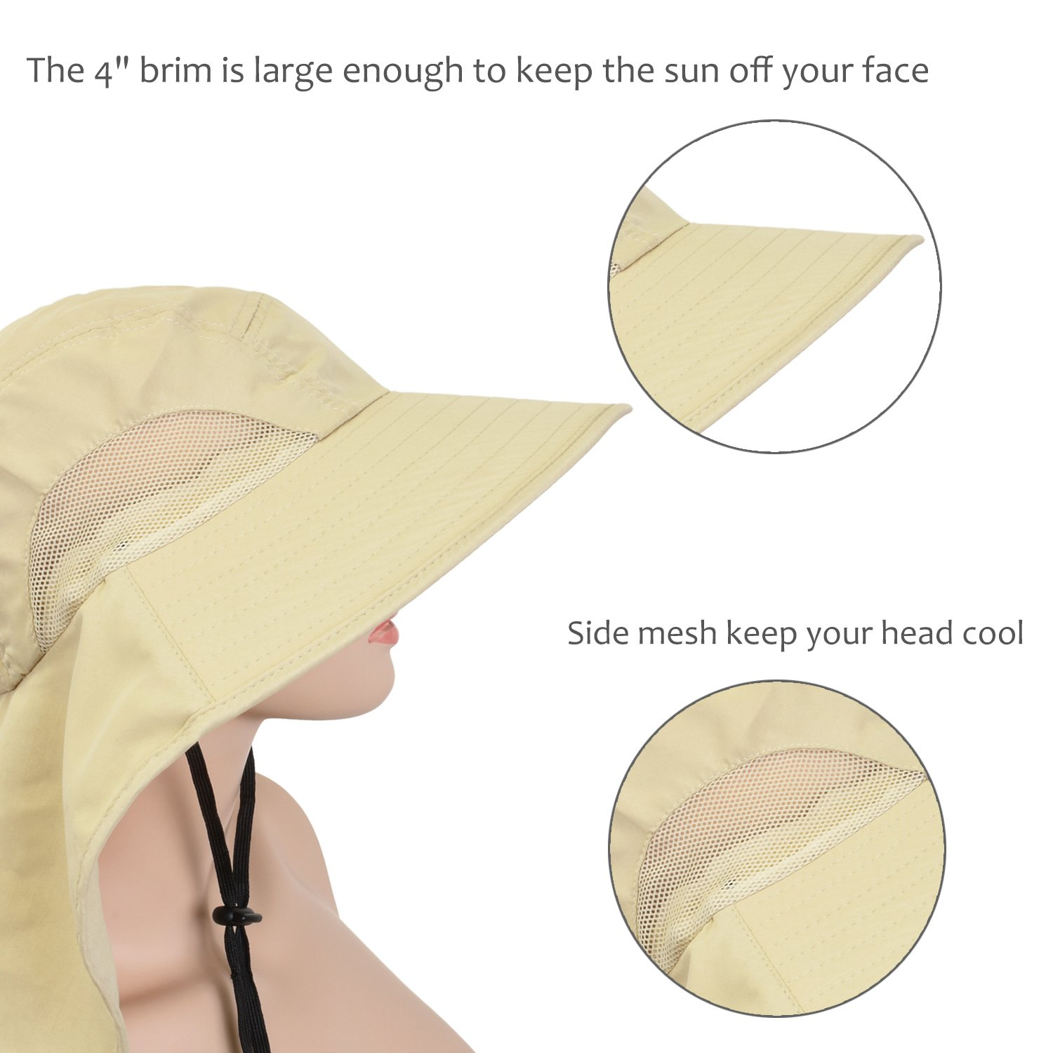 3eb08878643 Solaris Outdoor Fishing Hat with Ear Neck Flap Cover Wide Brim Sun  Protection Safari Cap for Men Women Hunting