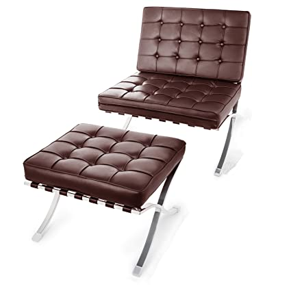 Happybuy Barcelona Style Lounge Chair and Ottoman Set PU Leather Mid Century Modern Classic Cushioned Luxury Replica Leisure Lounge Chair with ...