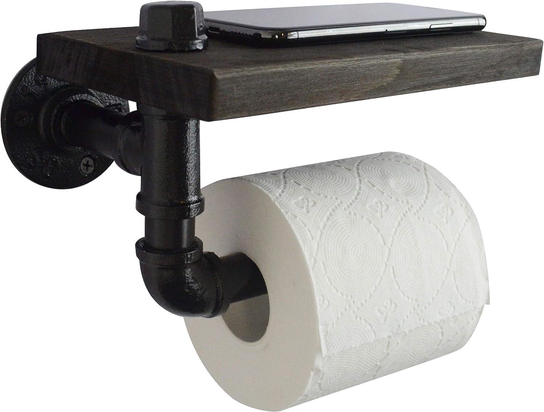 AddGrace Porte-Papier Toilette Industriel Rustique avec /étag/ère en Bois Noir 15,2 cm