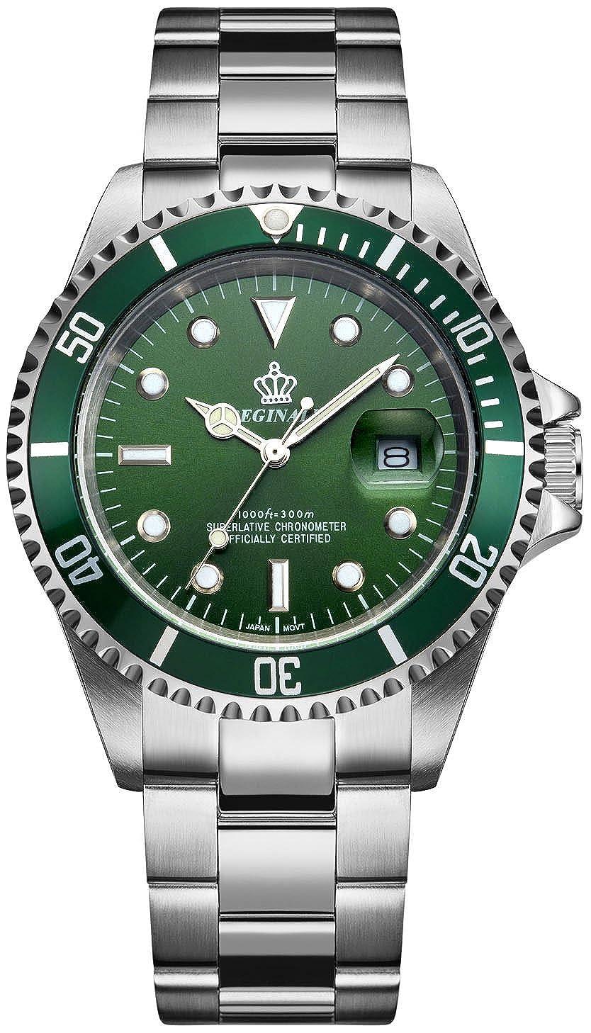 Fanmis, relojes para hombre y mujer de cuarzo, con índices luminosos, cristal de zafiro, bisel rotatorio y esfera verde: Amazon.es: Relojes
