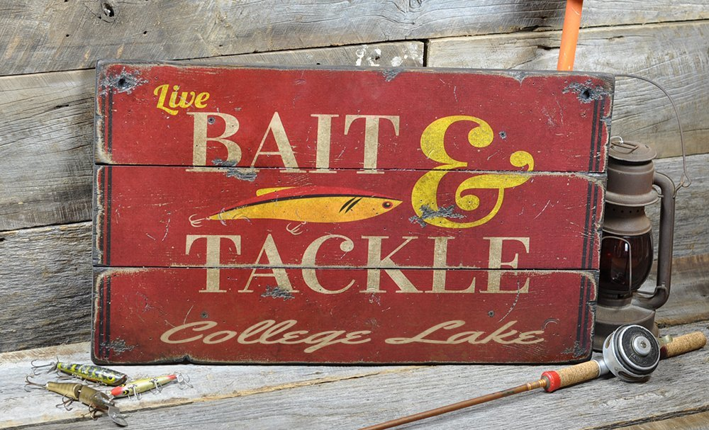 College Lake California, Bait and Tackle Lake House Sign - Custom Lake Name Distressed Wooden Sign - 16.5 x 28 Inches