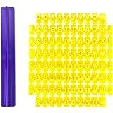 Elifestore Alphabet Number Letter Cake Mold - DIY (68 pcs in 1 + 1 groove) Alphabet Number Letter Biscuit Fondant Cookie Stamp Impress Embosser Cutter Cake Mould Mold Decorating Tool Set Baking Mold