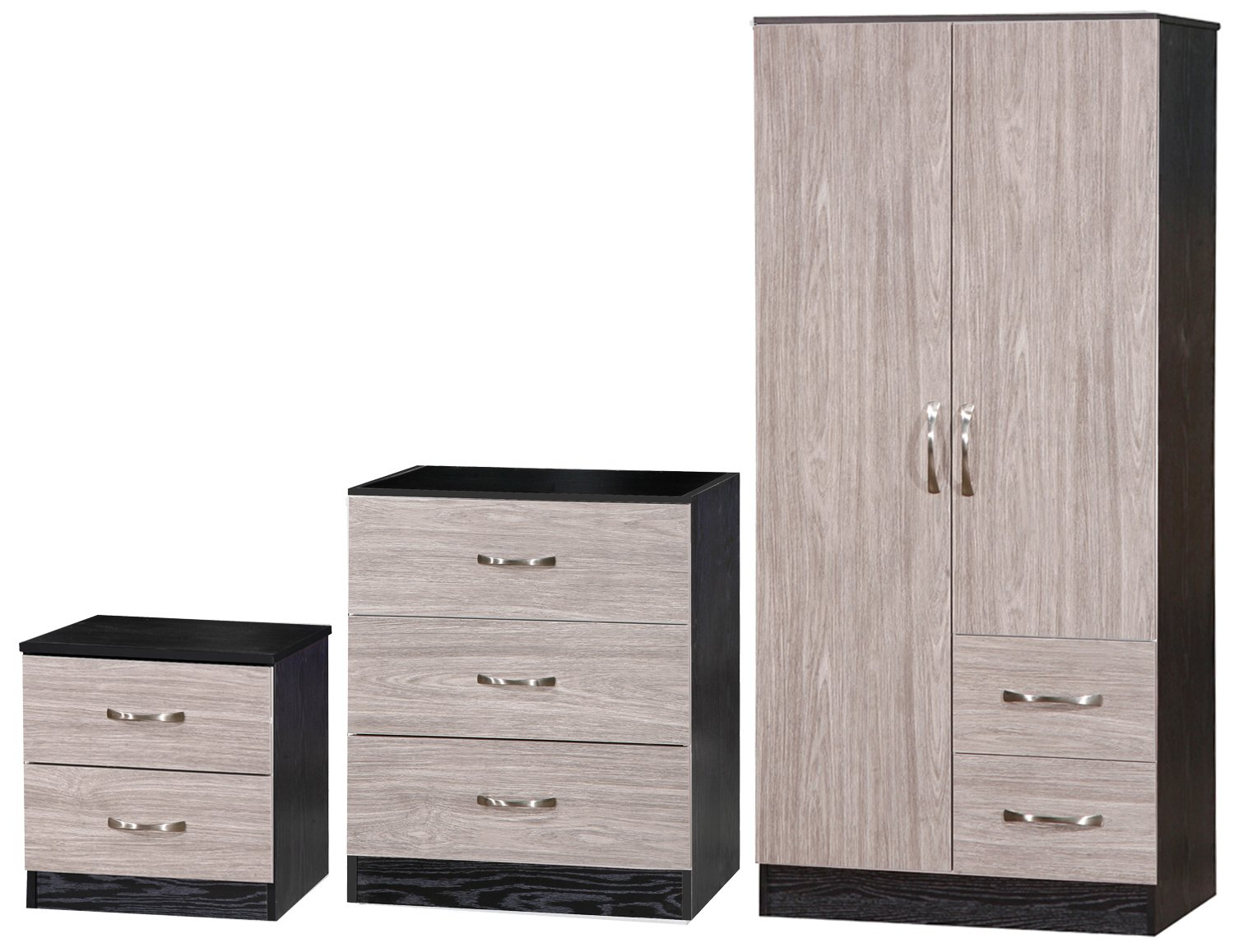 Marina Bedside/Chest/Combi Wardrobe Set, Wood, Grey/Black, 46.5 x 76 x 180.5 cm MR-GRY01053SET