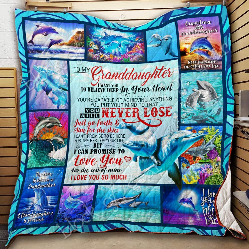 Dolphin Quilt THH1259 Best Decorative Quilts-Unique Quilted for Gifts King All-Season Quilts Comforters with Reversible Cotton King//Queen//Twin Size to My Granddaughter