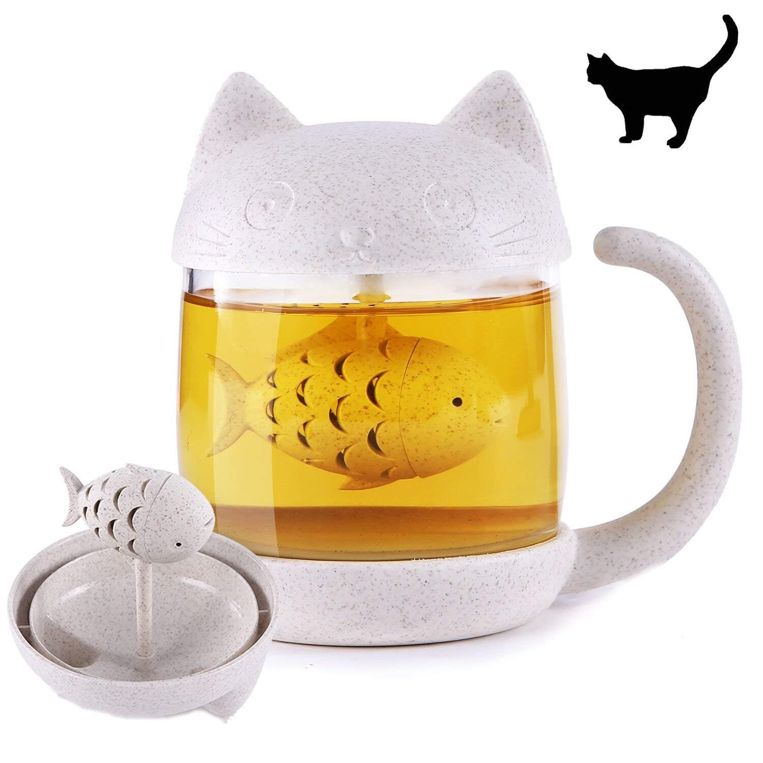 NZQXJXZ Cute Cat Tail Tea Cup with Detachable Fish Infuser Filter, Glass Teacup, Cats Tail Coffee Mug Tea Lovely Cup for Children Girl