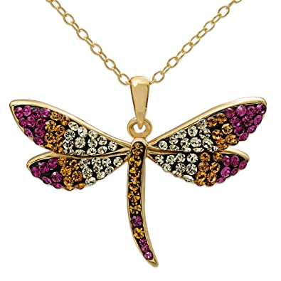 7418f30b87ca3 Crystalogy Sterling Silver Swarovski Crystal Dragonfly Animal Pendant  Necklace for Women, 18