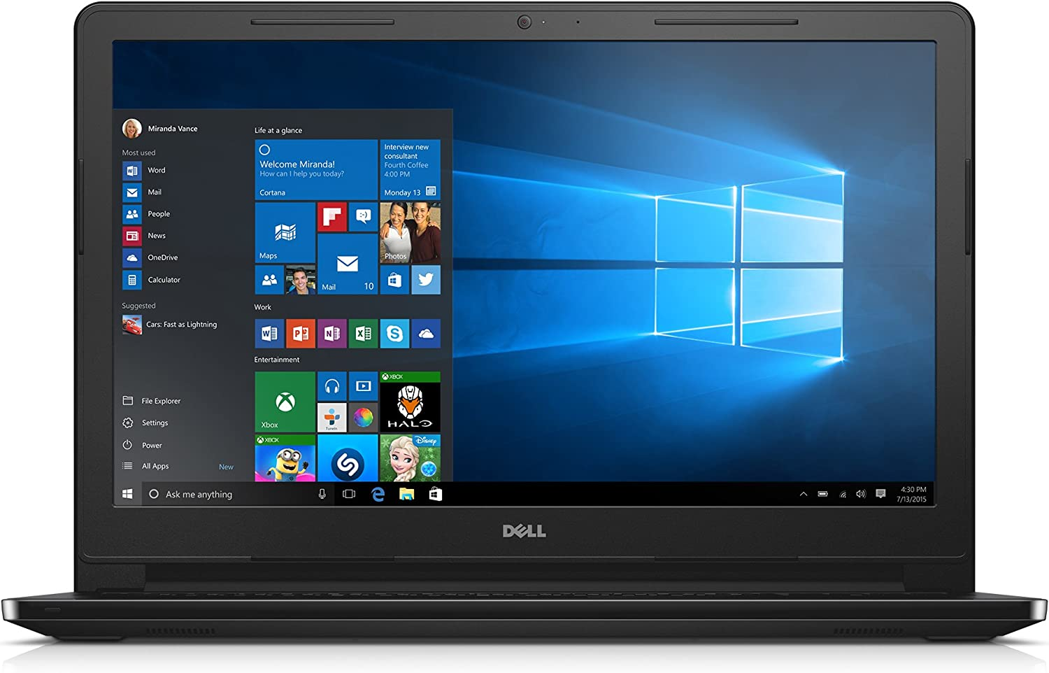"Dell Inspiron 15 3000 i3552-4041BLK Laptop (Windows 10, Intel Celeron N3050, 15.6"" LED-lit Screen, Storage: 500 GB, RAM: 4 GB) Black"