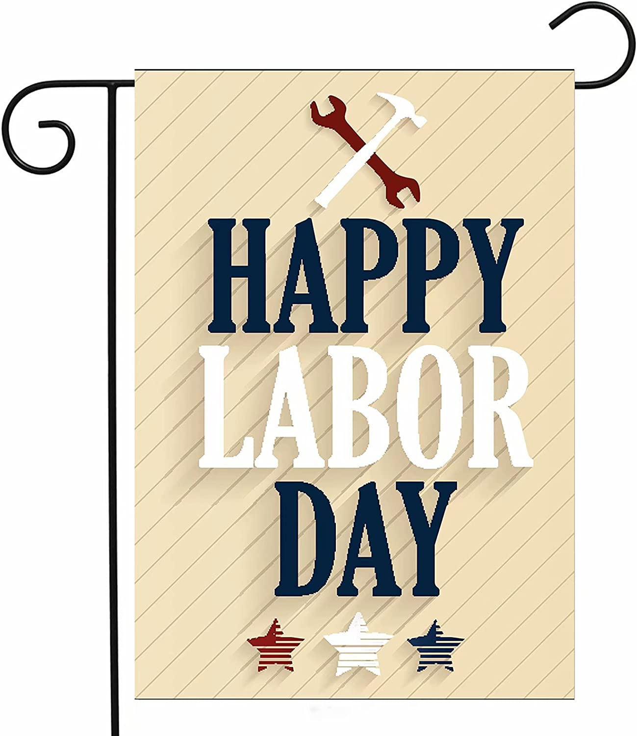 """ShineSnow Happy Labor Day Stars Garden Yard Flag 12""""x 18"""" Double Sided, Polyester Celebrate Labor Day Holiday Welcome House Flag Banners for Patio Lawn Outdoor Home Decor"""