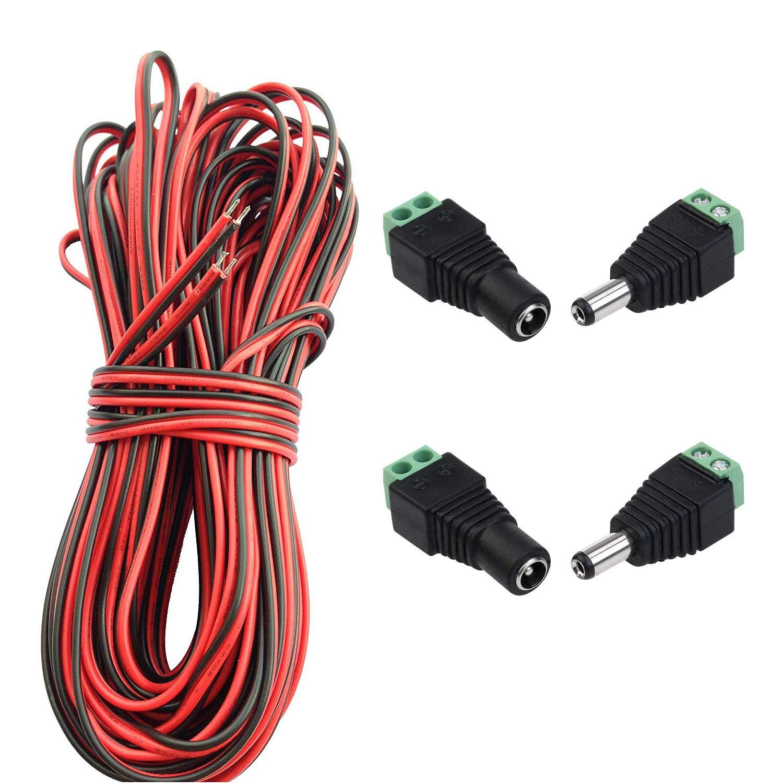 Coche Cable Altavoz,etc. LitaElek 20m 2 Pines Cable DC 12V 5V 9V 24V 36V Cable de Extensi/ón de Tira de LED 22 AWG Cables Rojo y Negro con Conectores Hembra y Macho DC 5,5 mm x 2,1 mm para LED Strip