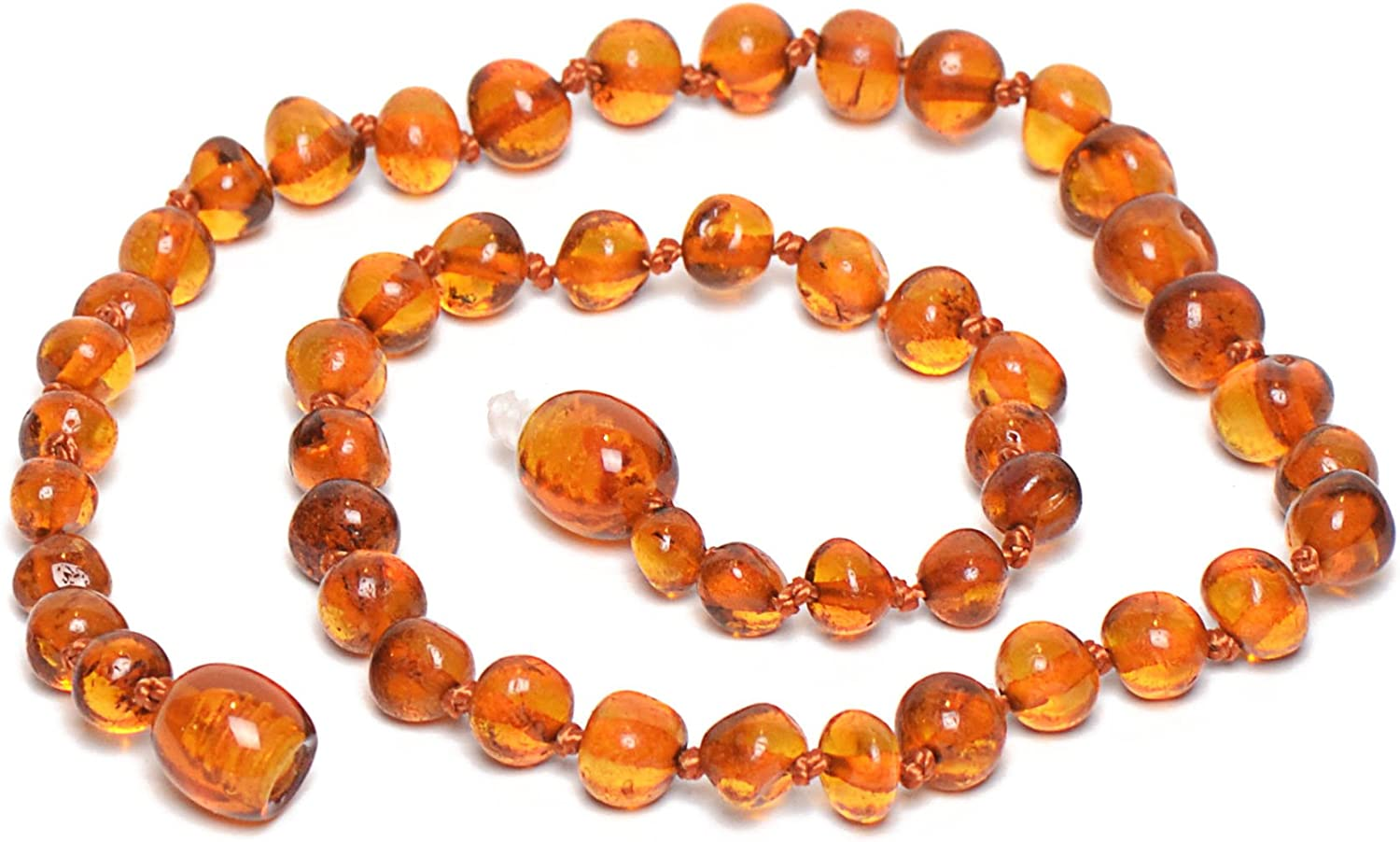 Raw Amber Necklace Honey color Natural Genuine Beads Knitted 18 inches Screw cla