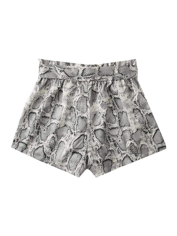 SweatyRocks Womens Boho Paperbag Waist Snakeskin Self Tie Summer Beach Shorts