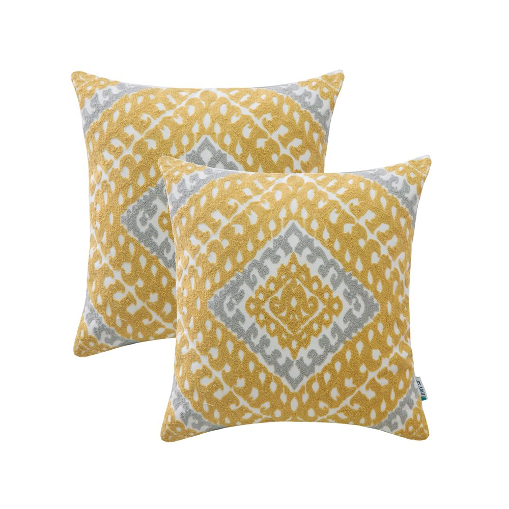 HWY 50 Cotton Embroidered Decorative Throw Pillows Covers Sets Cushion Case for Couch Sofa Bed Living Room 18 x 18 inches 45 x 45 cm Yellow Modern Chic Geometric Decor, Pack of 2 by HWY 50