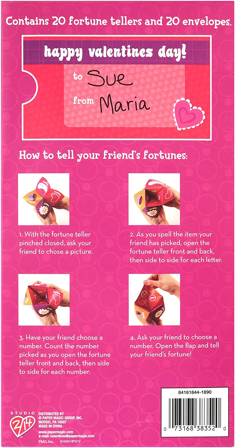 20pc Paper Magic Group 4161844-ACAMZ Chatterbox Paper Fortune Teller Valentines Day Cards 20 Piece