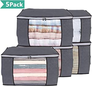 Vieshful Clothing Storage Bag, Thick Fabric Clothes Storage Organizer for Comforters, Blankets, Bedding, Clothing, 5 Pack, Grey Under Bed Storage