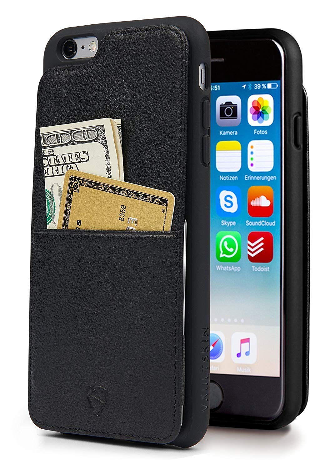 Vaultskin iPhone 6(S) Plus Case, Eton Armour iPhone 6(S) Plus (5.5) Case Wallet, Slim, Minimalist Genuiner Leather Case - Holds up to 8 Cards/Top Grain Leather (Black)