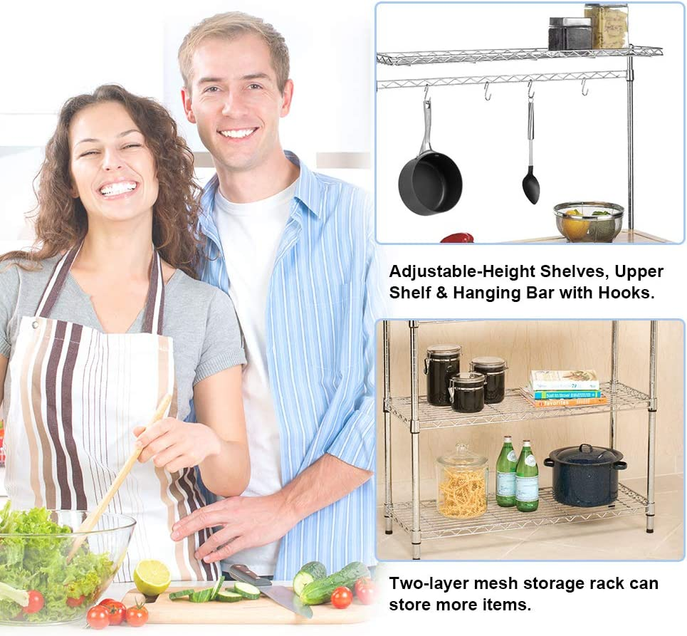 Metal Baker s Rack Organizer Stand Shelf Kitchen Microwave Cart Storage Countertop Dorm Microwave Stand Kitchen Storage Shelving with Cutting Board Microwave Shelf Hooks for Kitchen NSF Certification