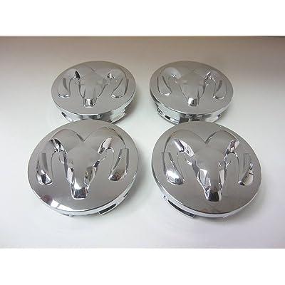 Set of 4 Genuine Mopar 2013-2014 Dodge Ram 1500 Chrome Alloy Wheel Center Cap with Ram Head Logo: Automotive