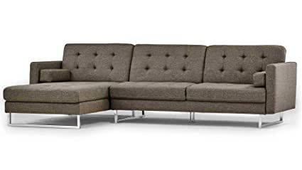 Amazon.com: Zuri Furniture Modern Brown Fabric Upholstered Sectional ...