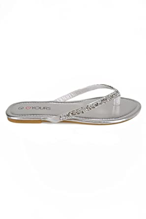 602a0dfb445a4e Yours Clothing Wide Fit Women s Sandals With Glitter Straps In Eee Fit Size  4EEE Silver