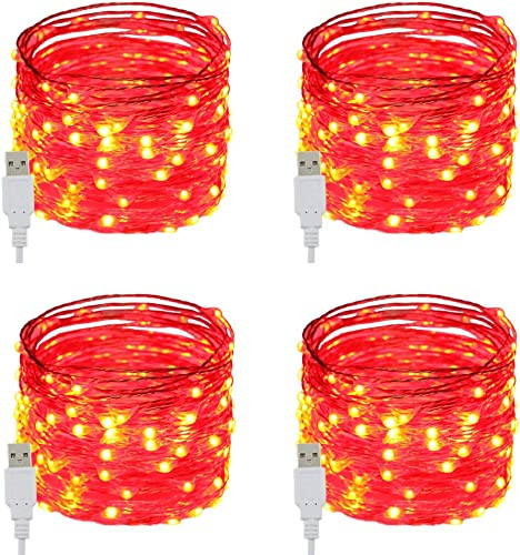 RUICHEN Fairy Lights USB Plug Power 33Ft 100 LED Copper Wire Starry String Lights with ON Off Switch for Bedroom Indoor Outdoor Decorative Red,4 Pack