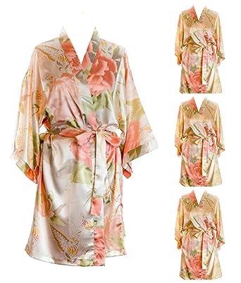 94c7f3d623f8 Bridesmaid Robes Satin Vintage Floral Dressing Gown Sets Kimonos Silk