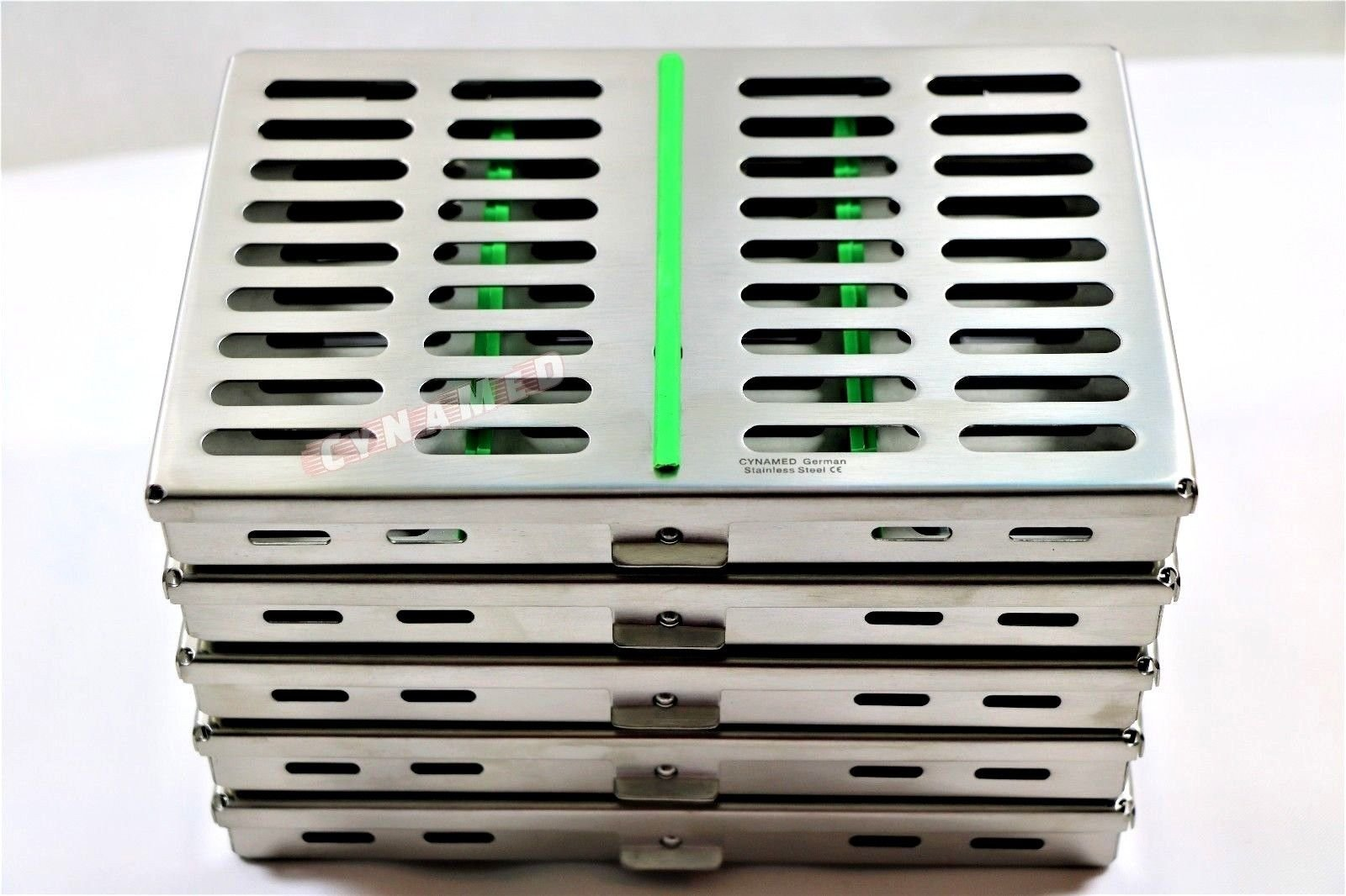 10 German Dental Surgical Autoclave Sterilization Cassette Box for 10 Instruments Green CYNAMED by CYNAMED (Image #2)