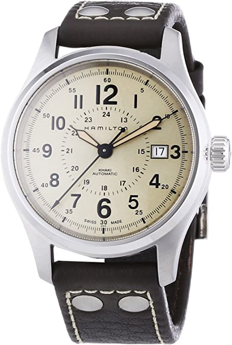 Hamilton - Reloj Analógico de Automático para Hombre, correa de Cuero color Marrón