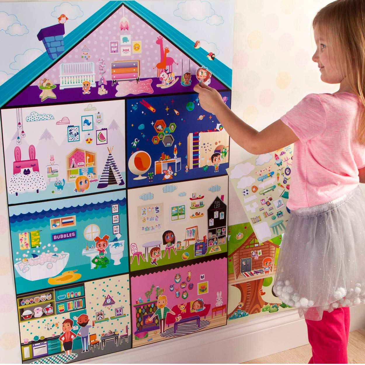 Craft-tastic Jr 3-Foot Tall Dreamhouse with Over 650 Reusable Stickers Ann Williams Group CT1833 Wall Sticker Playhouse