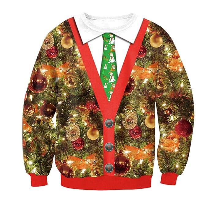 Internert Navidad Navidad vacaciones Santa Impresión de manga larga de Navidad Suéter Sudadera para hombre Sudadera Blusa Tops: Amazon.es: Ropa y accesorios