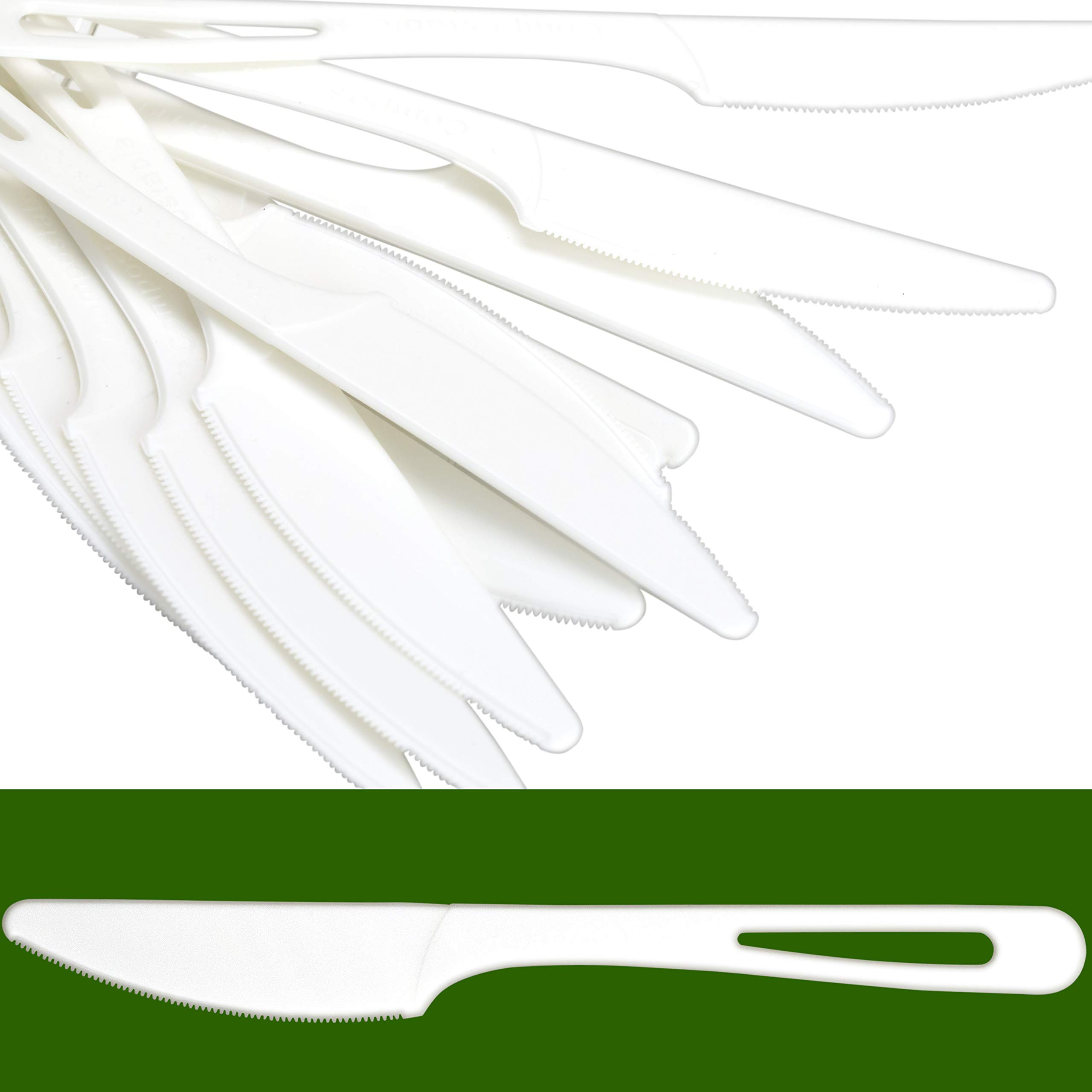 Biodegradable Knives Made From Non-GMO Plant-Based Plastic 100 Pack. Sturdy Utensils are Certified Compostable, Disposable, Eco-Friendly Cutlery With No Wood Taste. Safe for Hot and Cold Foods!