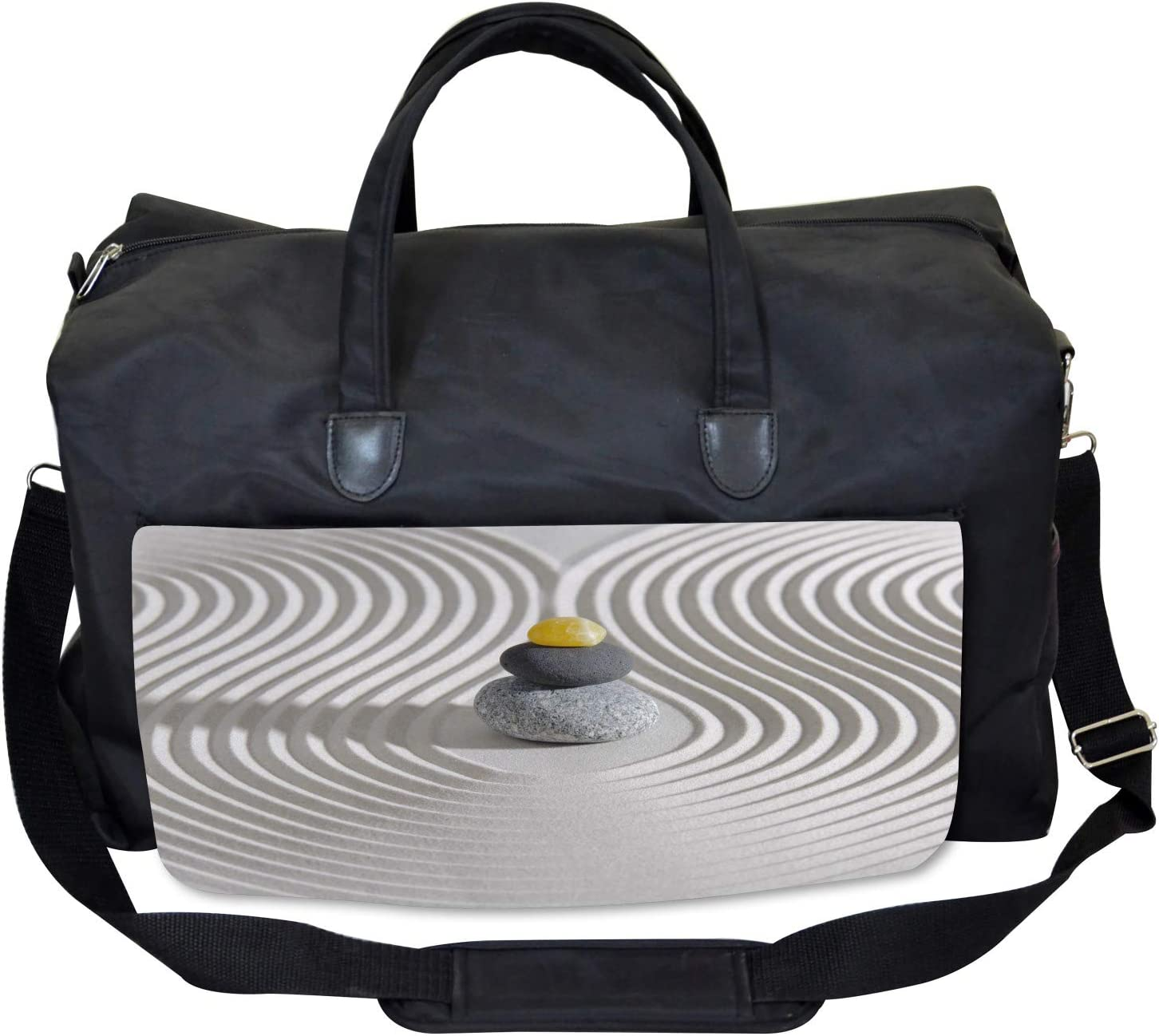White Sand Hot Stone Waves Ambesonne Spa Gym Bag Large Weekender Carry-on