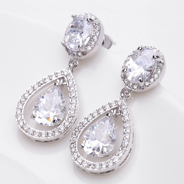 Beydodo Womens Gold Plated Earrings Stud 3-Prong White Cubic Ziconia Earrings Teardrop Round Shape
