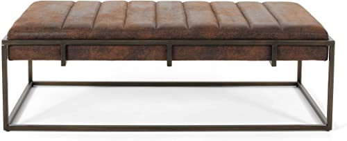 Great Deal Furniture Vassy Modern Fabric Ottoman Bench, Brown