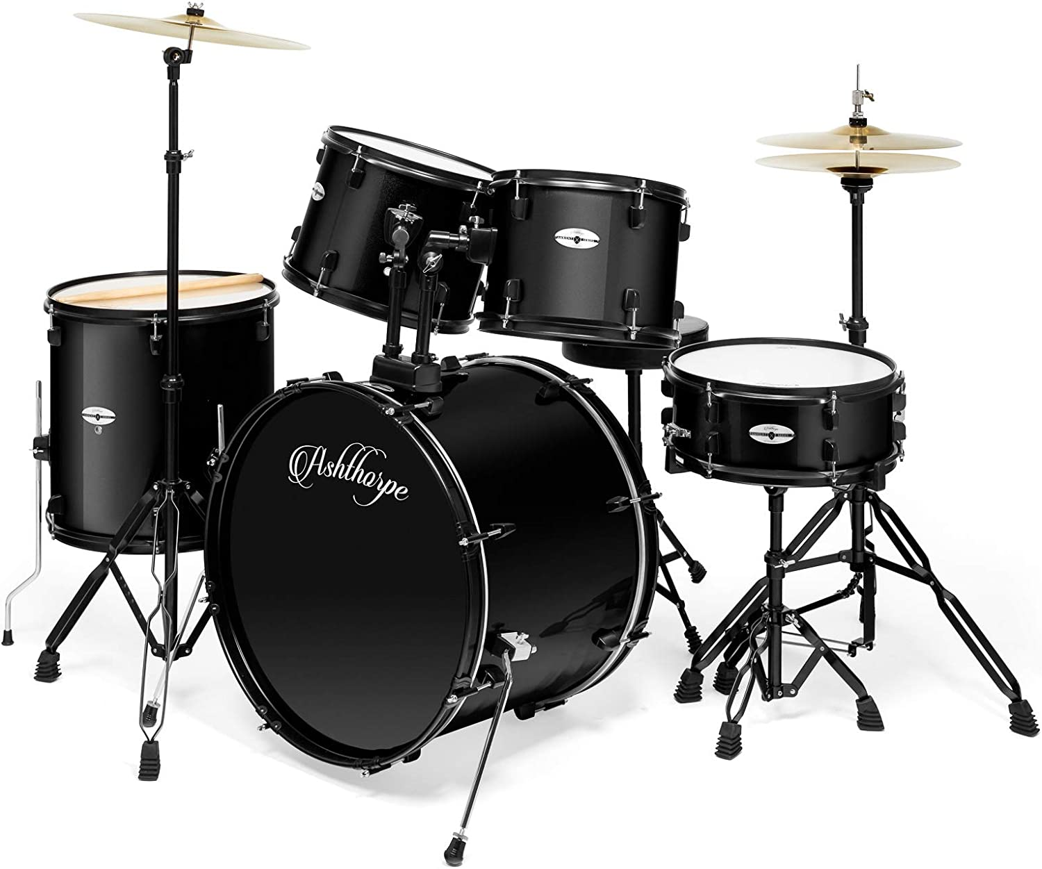 Ashthorpe 5-Piece Complete Full Size Adult Drum Set with Remo Batter Heads